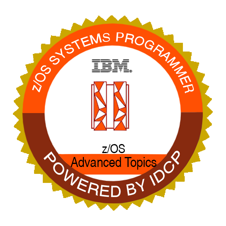 An image of a badge demonstrating proficiency with z/OS Advanced Topics