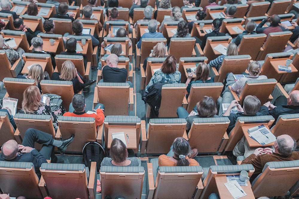 An image of students sitting in a lecture hall